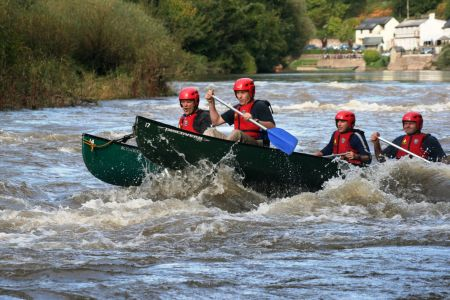 Wye Canoes rafted boat on Symonds Yat Rapids